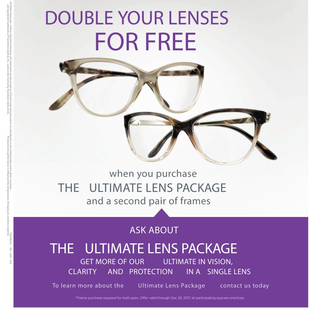 Free Lenses Buy One Get One BOGO Crizal Transitions Essilor Progressives